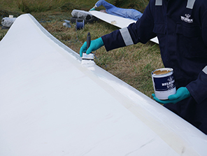 Belzona 5721 being applied to the leading edge
