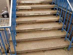 Damaged steps causing safety concerns