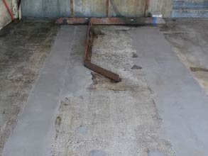 Deteriorated concrete of an unloading area repaired with Belzona 4154 and overcoated with Belzona 4131
